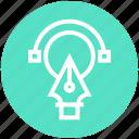 circle, circle design, creative, design, pen, pen nib, shape icon