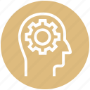 brainstorming, cogwheel, gear, head, idea, marketing, strategy