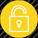 padlock, password, safe, secure, security, unlock, unlocked icon