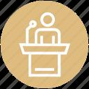 conference, podium, presentation, speaker, speech, user