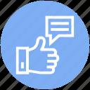 appreciation, chat, hand, like, social, thumb, up