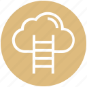 career, cloud, data, ladder, stair, storage, success icon