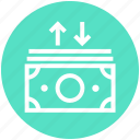 money, dollar, currency, up and down, notes, arrows, dollar notes icon