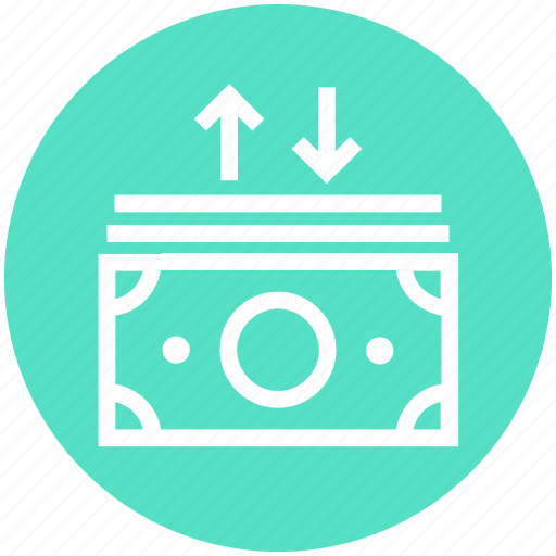 arrows, currency, dollar, dollar notes, money, notes, up and down icon
