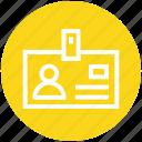 badge, card, document, id, identification, identity, profile