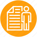 businessman, document, file, human, page, paper, user