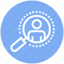 magnifier, magnifying, marketing, people, search, user, vision icon