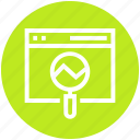 analysis, analytics, chart, magnifier, statistics, web, web page icon
