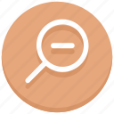 find, magnifier, magnify glass, minus, out, search, zoom