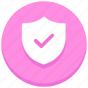 check, protection, safety, security, shield, successfully, tick icon