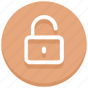 login, opened, protection, secure, success, unlock, unlocked icon