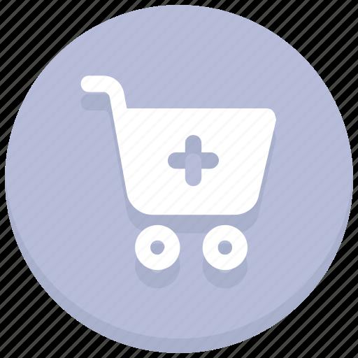 buy, cart, online, plus, shopping, trolley, web icon