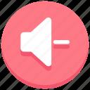 audio, low, minus, sound, speaker, volume icon