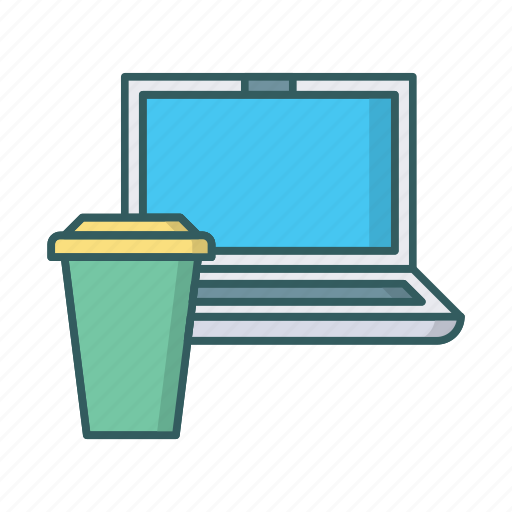 beverage, coffee, cup, drink, laptop, process, work icon
