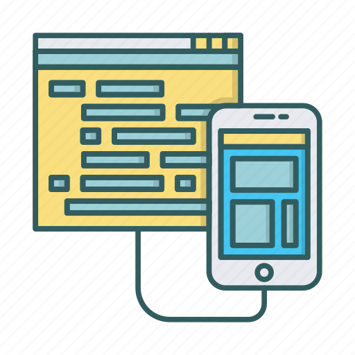 coding, development, mirror mode, mobile, programming icon