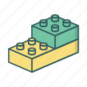 blocks, building blocks, constructor, toy bricks icon