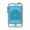 finger, fingerprint, mobile, scan, scanner, security, smartphone icon