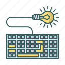 bulb, device, idea, keyboard, lamp, lightbulb icon