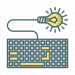 bulb, device, idea, keyboard, lamp, lightbulb icon