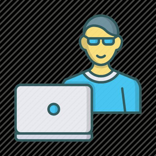 apple, device, laptop, man, notebook, programmer, user icon