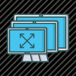 adaptive, devices, diagonal, monitor, resolution, responsive, screen icon