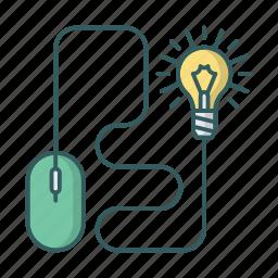 bulb, device, idea, light, lightbulb, mouse icon
