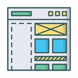 blog, cms, content, editor, managment, website, wireframe icon