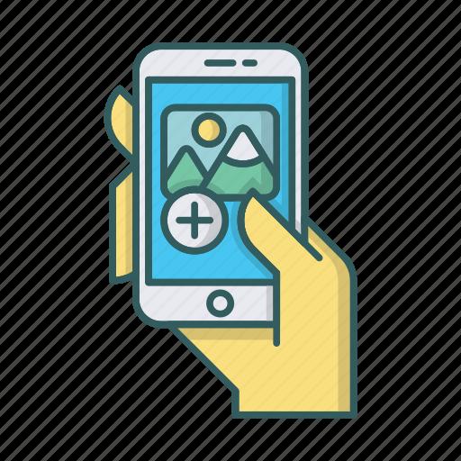 add, app, hand, mobile, photo, smartphone icon