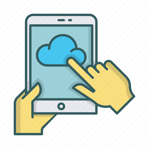 click, cloud, ipad, tablet, touch, upload icon