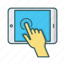 click, hand, ipad, tablet, touch, touchscreen icon