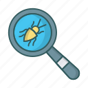 bug, dev, qa, search, testing, virus icon