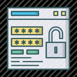 auth, lock, login, password, secure, unlock, window icon