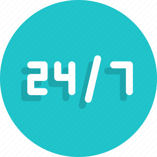 24 hours, 24/7, service icon