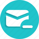 email, mail, message, minus, remove icon