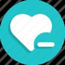dislike, heart, love, minus, remove, valentines icon