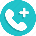 communication, contact, phone, plus, support, telephone icon