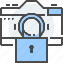 blocked, camera access, lock, off, photo, turn on, video icon