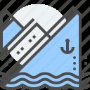 fatal error, problem, server down, ship, sink, titanic, warning icon