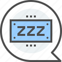 bubble, chat box, no messages, notification, sleeping, speech, zzz icon