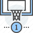 basketball, coin, finished, hoop, payment, processed, received icon