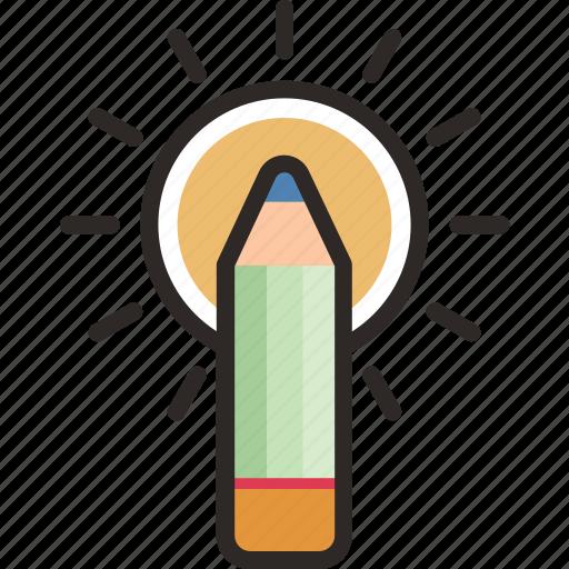 .svg, concept, creative, inspiration, pencil, sun icon