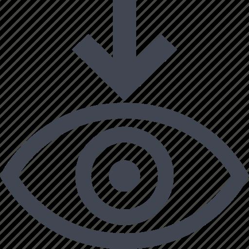 arrow, eye, point, views icon