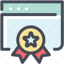 award, browser, certificate, optimization, page, page quality, quality icon