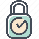 checkmark, lock, locked, login, protected, safe, sign icon