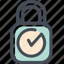 checkmark, lock, locked, login, protected, safe, sign