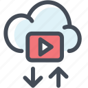 arrow, cloud, donwload, upload, vdo, video, youtube icon