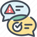 alert, chat, dialogue, discussion, solving, talk, warning icon