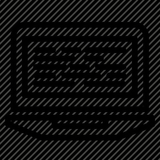 code, coding, computer, laptop, screen icon