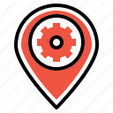 optimization, pin, place, preferences, seo, settings icon