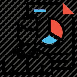 analysis, chart, document, man, performance, progress, statics icon